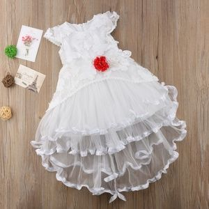 Other - Girls White Lace Layered Flower Accent Dress